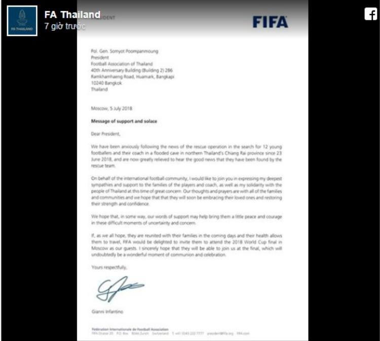 Bức thư mời của chủ tịch FIFA được đăng trên trang Facebook của Liên đoàn Bóng đá Thái Lan.