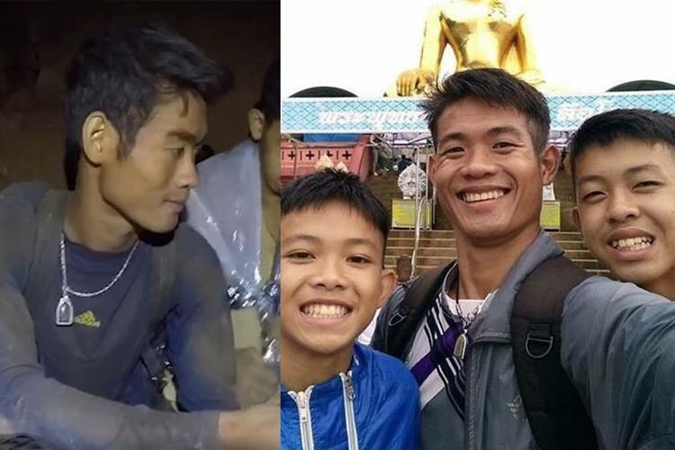 Ekapol Chantawong trong hang (trái) và cùng đội bóng Thái Lan trong chuyến đi ở Chiang Rai (phải). Ảnh: Khaosod