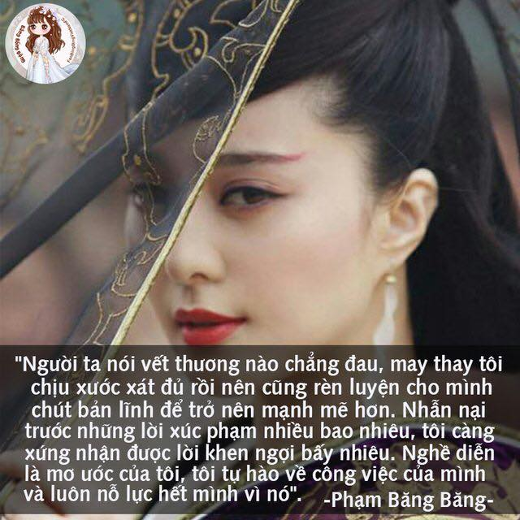 """Câu nói nổi tiếng của Phạm Băng Băng trở thành một """"phát ngôn thương hiệu"""" được lan truyền trong làng giải trí. Nguồn ảnh:FanBingbingVietnamFC"""