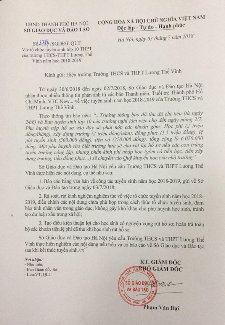 Công văn của Sở GD&ĐT gửi cho Hiệu trưởng trường Lương Thế Vinh.