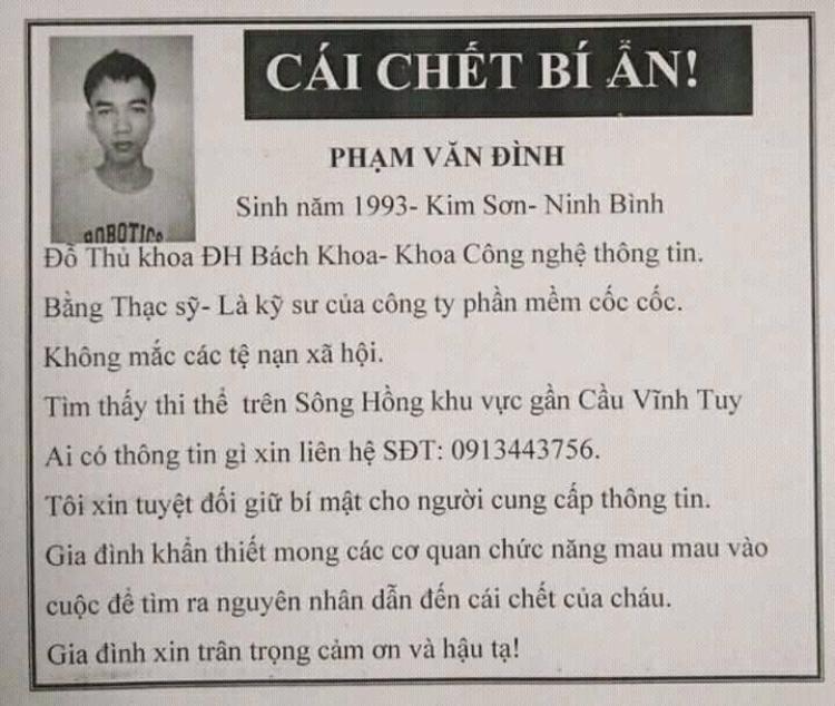 Cái chết của Phạm Văn Đình (ảnh nhỏ) khiến gia đình hoang mang.