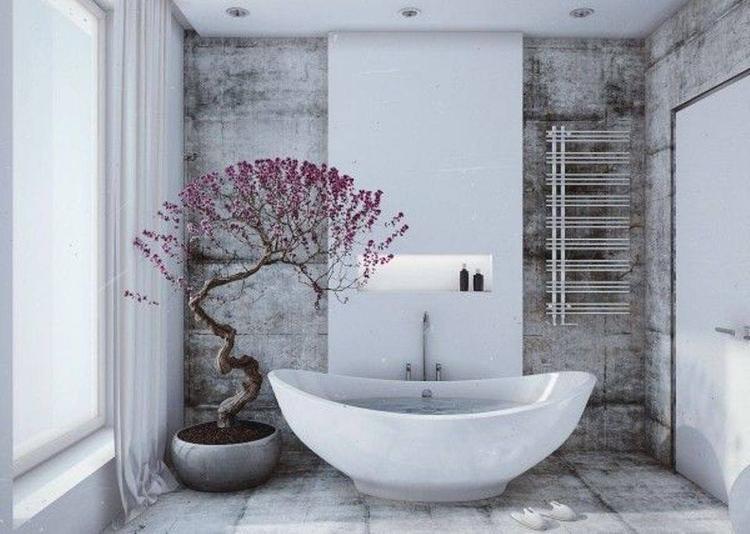 Tiếp tục là một mẫu bồn tắm đơn giản, màu trắng và kích thước nhỏ phù hợp với những không gian nhà tắm không quá lớn. Chỉ điểm thêm một chậu hoa là bạn đã có một phòng tắm lãng mạn lắm rồi.