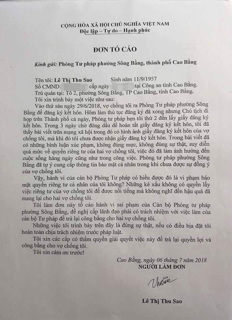 Hình ảnh đơn tố cáo của chị Sao gửi đến Phòng Tư pháp phường Sông Bằng, TP. Cao Bằng.