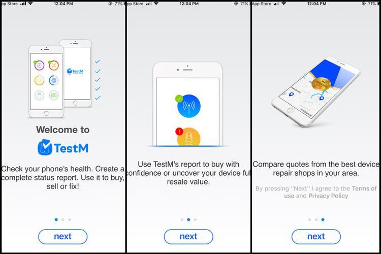 """Sau khi ấn truy cập ứng dụng, TestM sẽ hiển thị giao diện chào mừng và giới thiệu một số chức năng cơ bản của ứng dụng, lúc này bạn hãy nhấn """"Next""""."""
