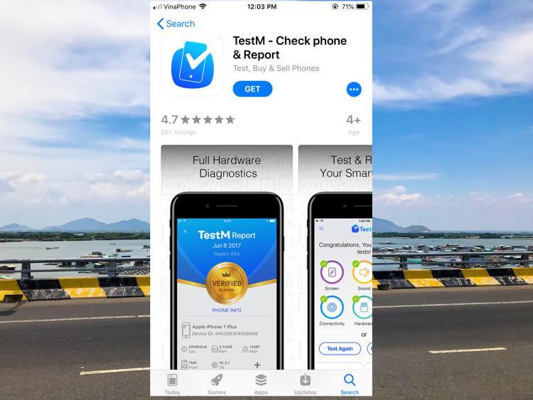TestM là ứng dụng hoàn toàn miễn phí có trên hai nền tảng smartphone lớn nhất hiện nay:iOS và Android. Ứng dụng sẽ cung cấp cho bạn những chức năng cần thiết nhằm hỗ trợ bạn thực hiện việc kiểm tra máy với 19 bước tiêu chuẩn.