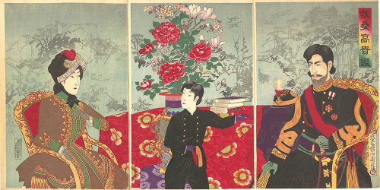 Nghệ nhân Ukiyoe phải bỏ ra rất nhiều công sức để tạo ra một bức tranh mộc bản. Phía trên là bức tranh về giới quý tộc Nhật Bản của nghệ nhân Chikanobu thực hiện năm 1887. Ảnh: Amusing.