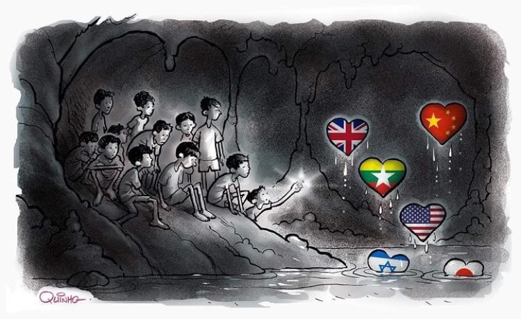 Không chỉ người dân Thái Lan, cả thế giới đang dõi theo từng diễn biến của hành trình giải cứu thành viên đội bóng.