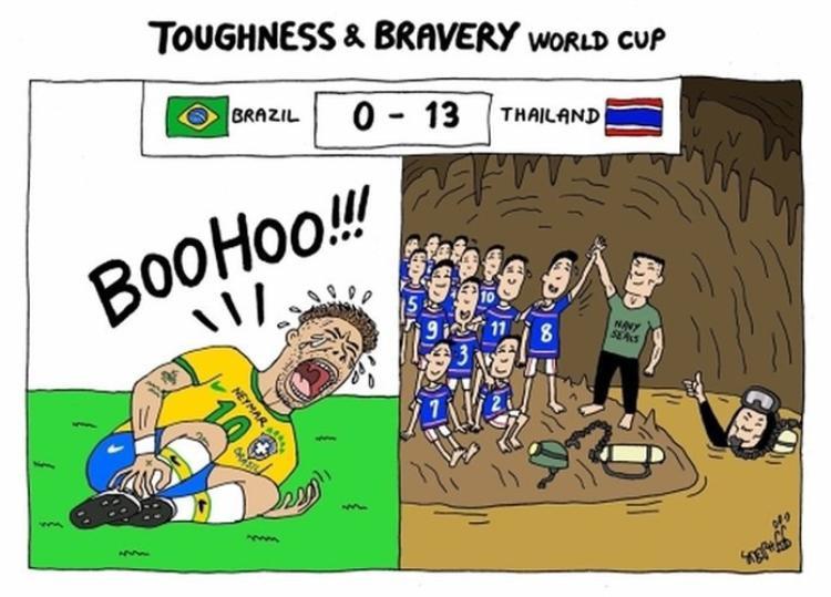 Cú ăn vạ của danh thủ Neymar thuộc tuyển Brazil bị đem ra so sánh với lòng dũng cảm của 12 thiếu niên Thái Lan và HLV của các em.
