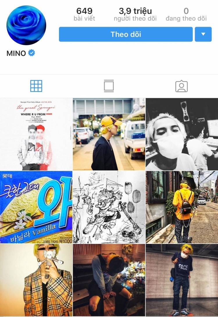 Con số tài khoản Instagram mà Mino theo dõi trở về 0.