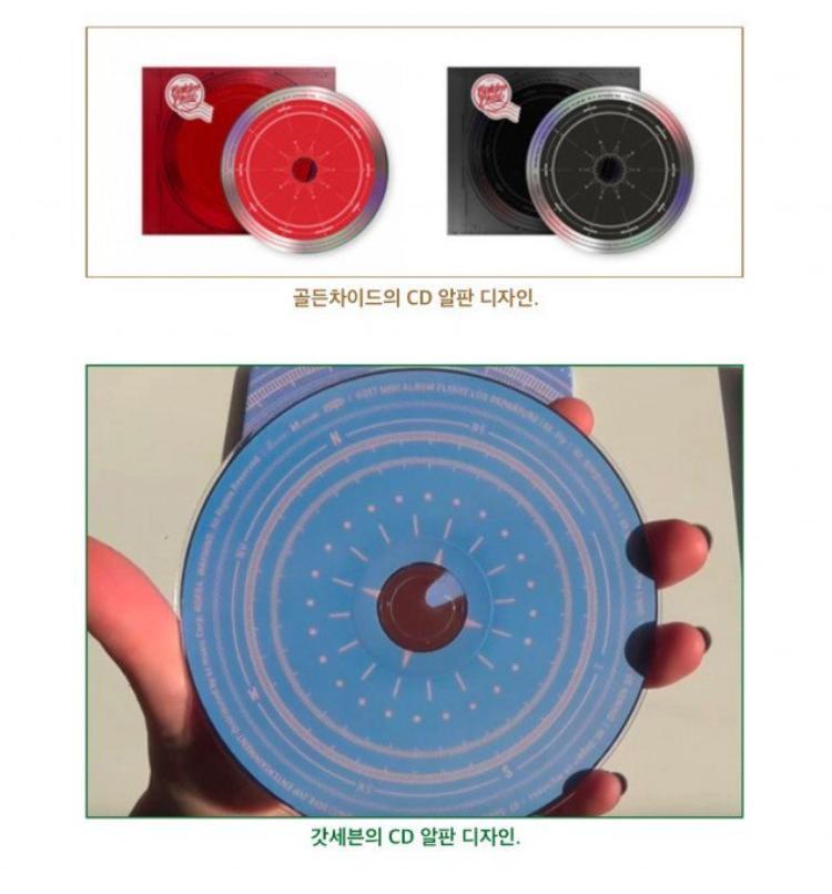 """Đĩa album của """"Goldenness"""" (trên) và """"Turbulence"""" (dưới) đều có hình dáng chiếc la bàn."""