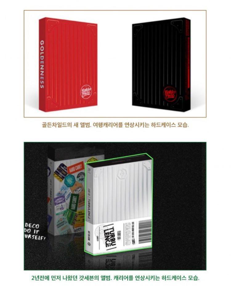 Cả hai album của Golden Child (trên) và GOT7 (dưới) đều lấy cảm hứng từ vỏ ngoài của vali du lịch cùng đường vân nổi tinh tế.