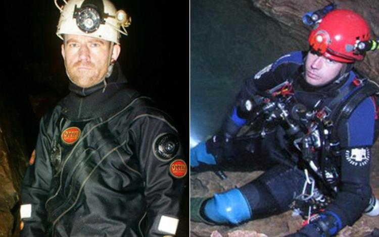 Thợ lặn Chris Jewell (trái) và Jason Mallinson (phải).