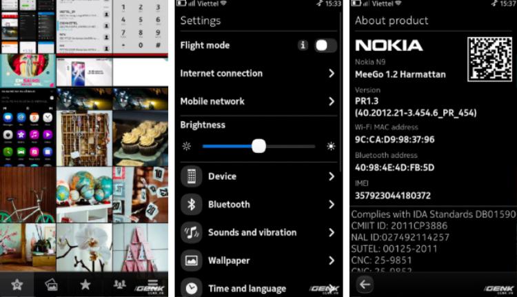 Giao diện của Meego trên Nokia N9