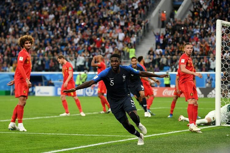 Umtiti đưa tuyển Pháp vào chung kết. Ảnh: FIFA