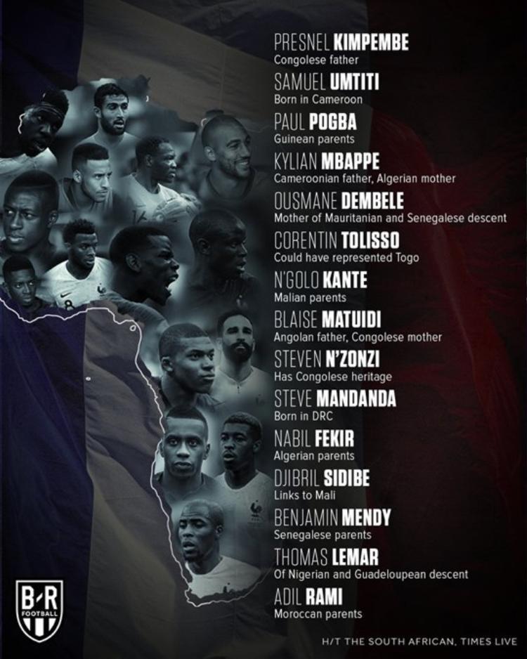 Hệ quả là đội hình đội tuyển Pháp tại World Cup 2018 gồm rất nhiều cầu thủ nhập cư gốc châu Phi.