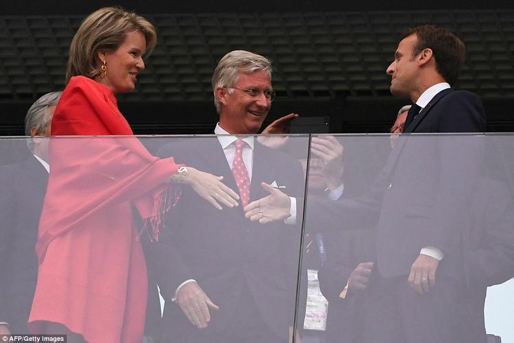 Bên cạnh đó còn có sự xuất hiện của Vua Philippe, Hoàng hậu Mathilde của Bỉ và Chủ tịch FIFA Gianni Infantino. ẢNh: AFP