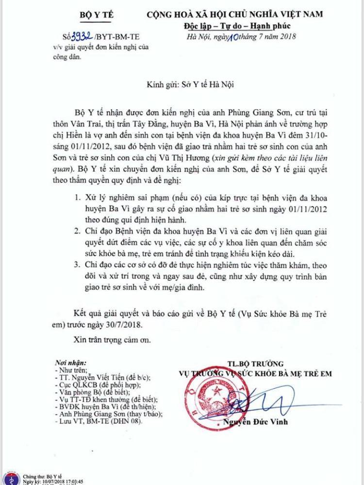 Công văn Bộ Y tế gửi Sở Y tế Hà Nội kiểm tra xử lý dứt điểm vụ việc.