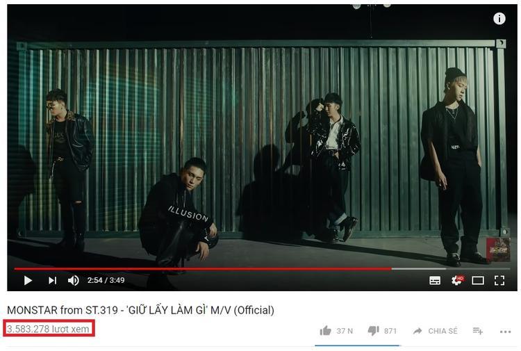 MV thu về được con số hơn 3,5 triệu lượt xem trên YouTube sau 1 tháng ra mắt.