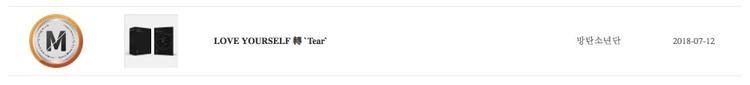 Chứng nhận Million đã được đặt cạnh Love Yourself: Her trên hệ thống Gaon.
