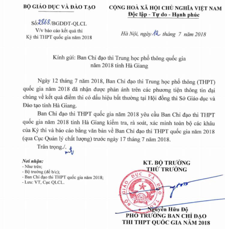 Công văn của Bộ GD&ĐT yêu cầu xác minh thông tin điểm cao bất thường tại Hà Giang.