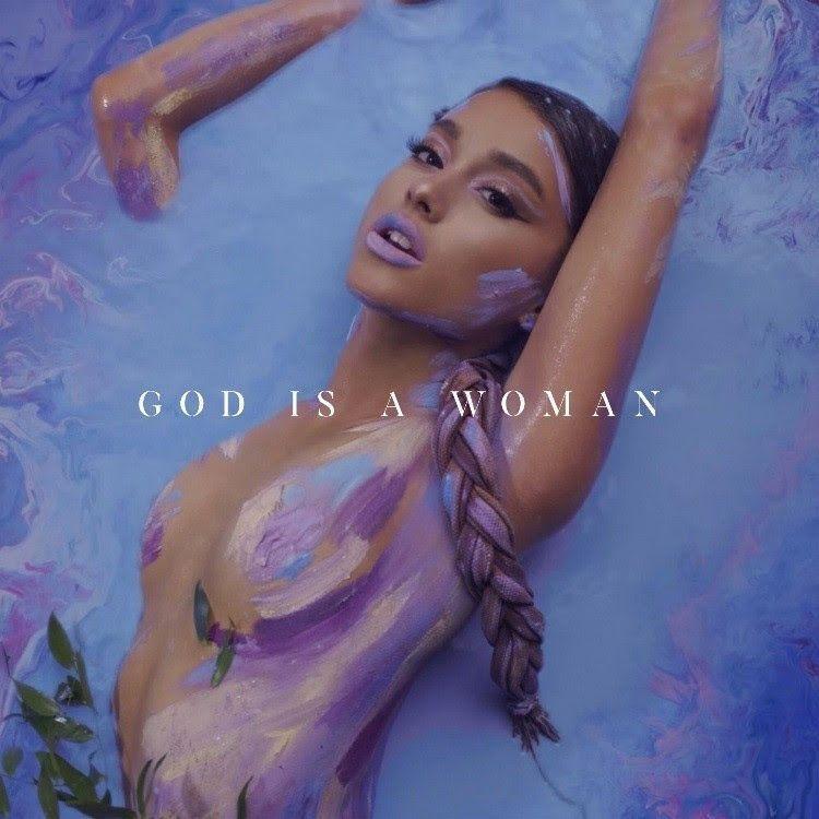 Ảnh bìa single God Is A Woman với tạo hình quyến rũ của Ariana Grande.