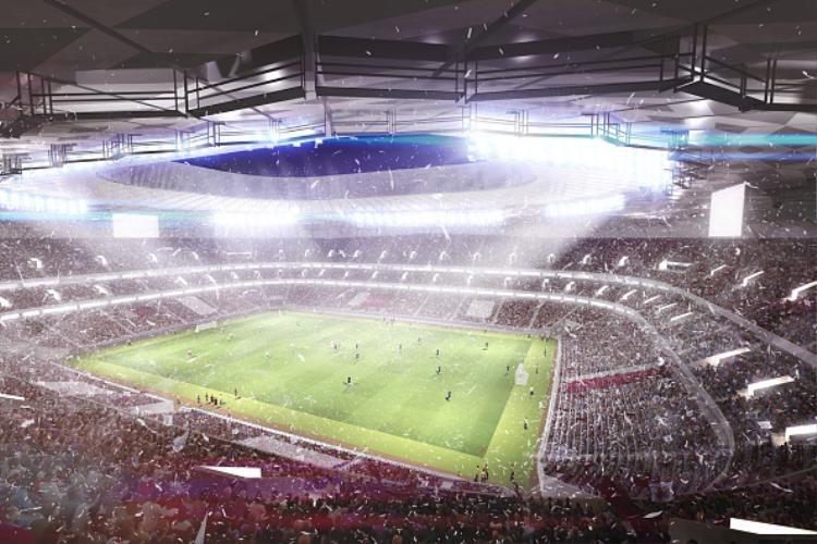 Dựng hình bên trong sân vận động Qatar Foundation Stadium Stadium.