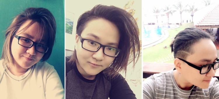 Tóc cậu ngắn dần dần theo thời gian