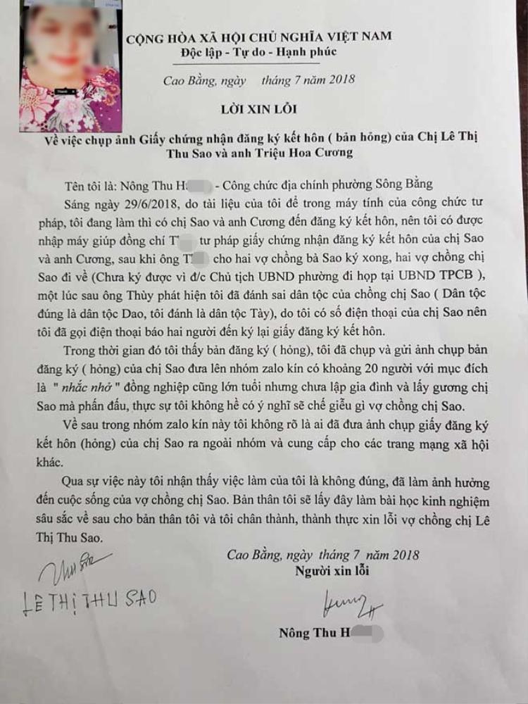 Chị H. người chụp bức ảnh giấy đăng ký kết hôn đã gửi lời xin lỗi vợ chồng chị Sao.