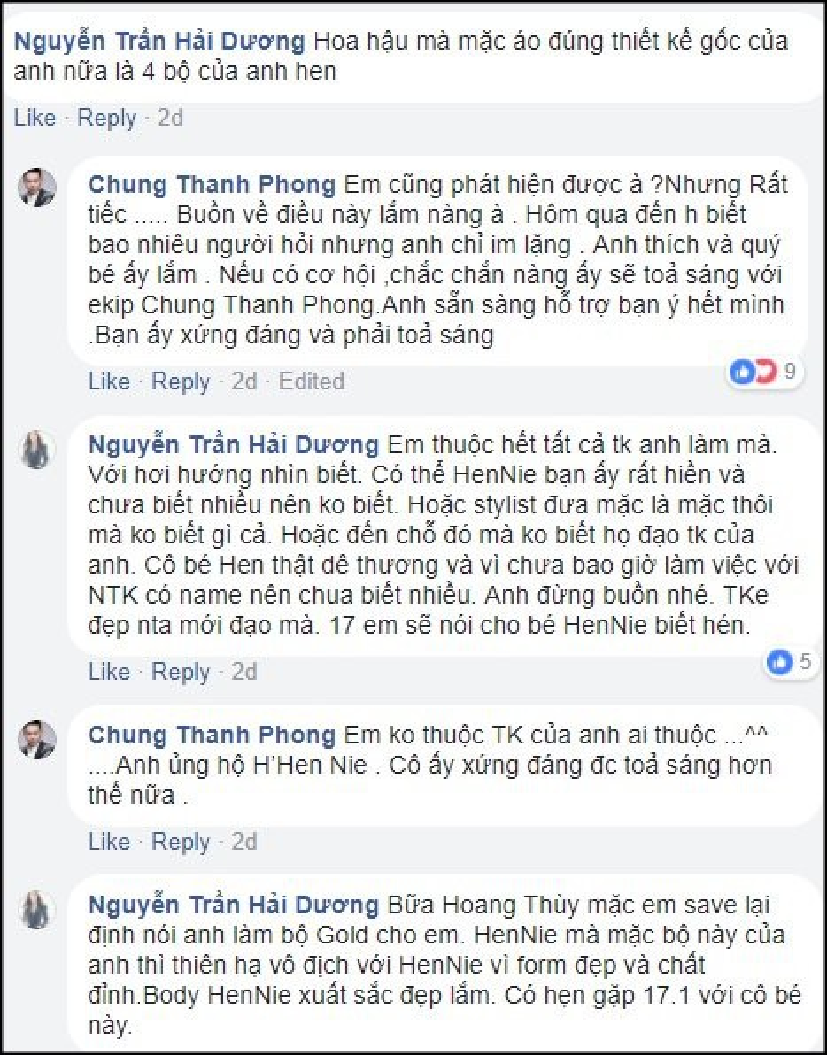 """Hoa hậu Hải Dương và NTK Chung Thanh Phong ngầm tố rằng H'Hen Niê đã trở thành một nạn nhân của vấn nạn """"ăn cắp chất xám""""."""