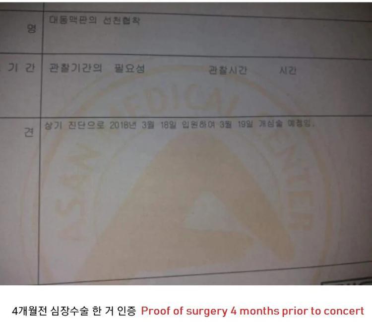 Giấy chứng nhận phẫu thuật tim vào thời điểm 4 tháng trước buổi concert.