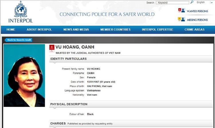 Thông tin truy nã Vũ Hoàng Anh trên website của Interpol. Ảnh chụp màn hình