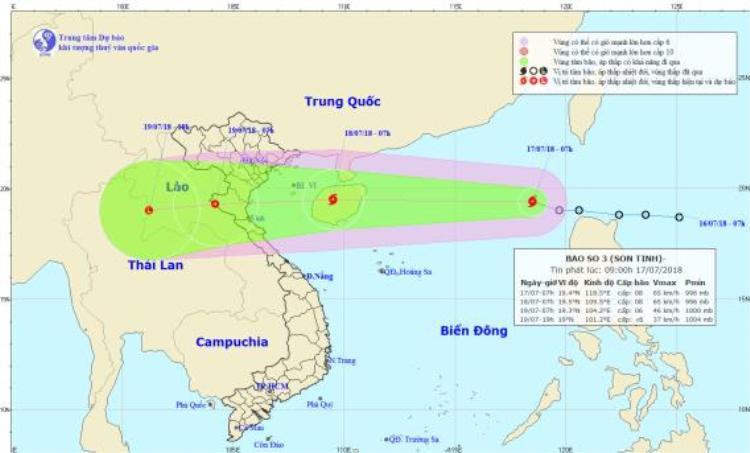 Vị trí và hướng di chuyển của cơn bão số 3. Ảnh:Trung tâm Dự báo Khí tượng Thuỷ văn Quốc gia.