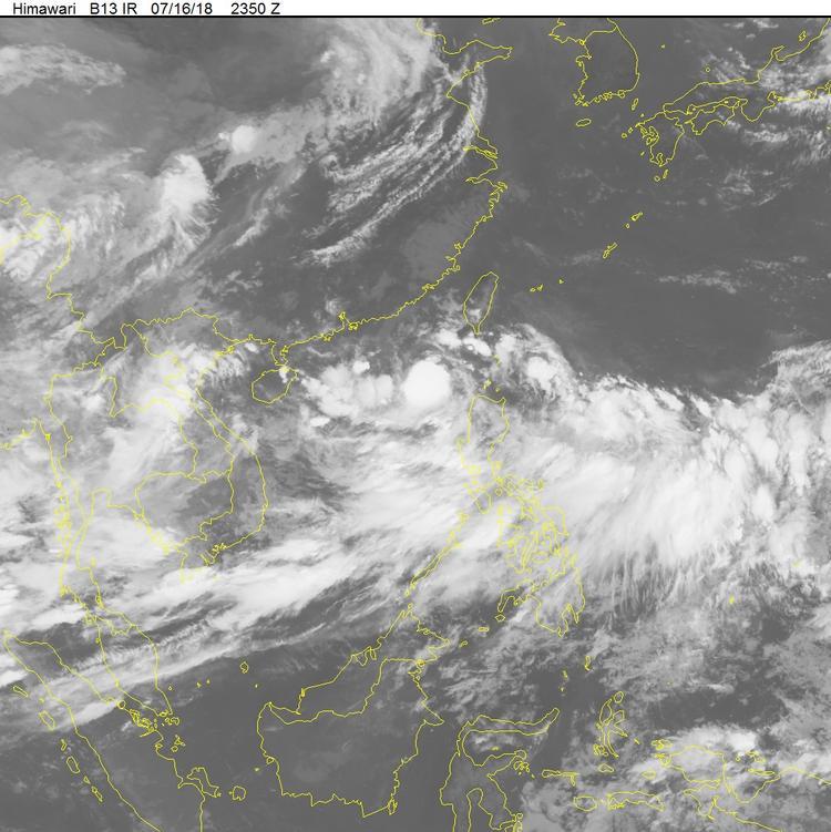 Hình ảnh vệ tinh của cơn bão khi ở phía tây bắc đảo Luzon (Philippines).Ảnh:Trung tâm Dự báo Khí tượng Thuỷ văn Quốc gia.