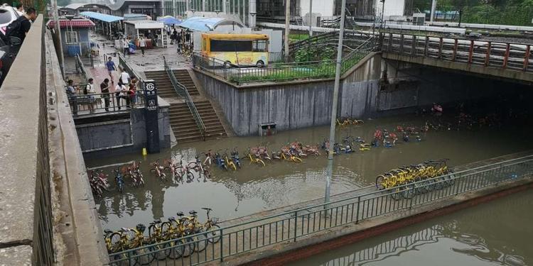Nước dâng cao ngang chiếc xe đạp.