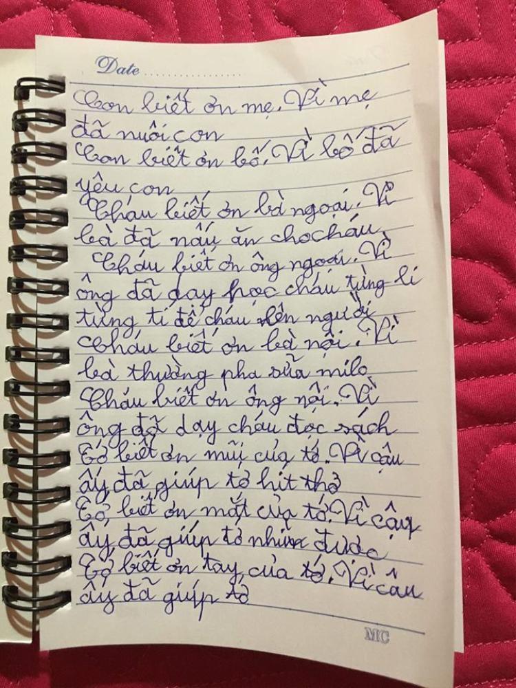 Bức thư của cậu nhóc nhà Vân Hugo được mẹ đăng tải trên trang cá nhân.