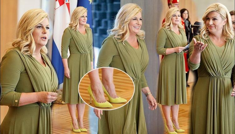 Một lần khác, tổng thống Croatia đã chiếm trọn spotlight với chiếc váy màu xanh bơ tươi sáng nhưng vô cùng duyên dáng và không quá chói lọi. Bà Kolinda còn chọn một đôi cao gót mũi nhọn cùng tông với áo đầm để tạo sự đồng điệu cho set đồ.