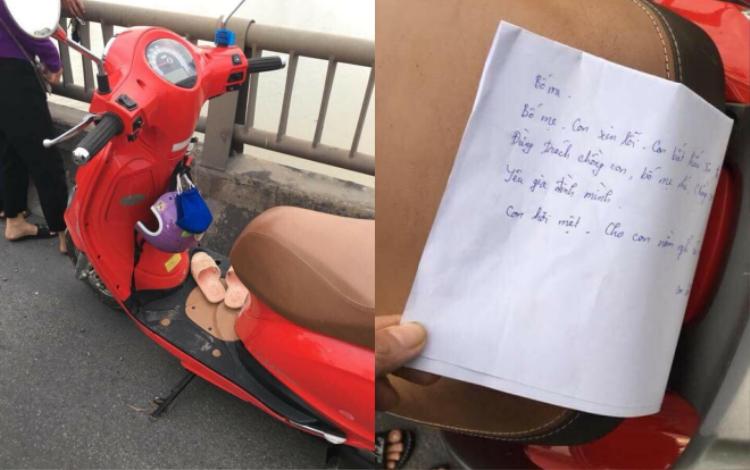 Hình ảnh xe máy cùng lá thư nữ giáo viên để lại.