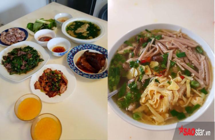 Những món ăn Việt với rau từ chính khu vườn của chị.