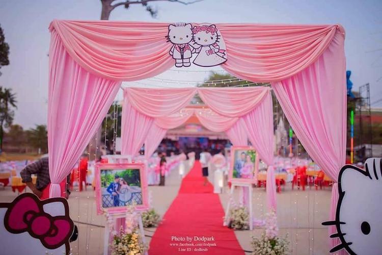 Không gian lễ cưới của cặp đôi yêu thích Hello Kitty.