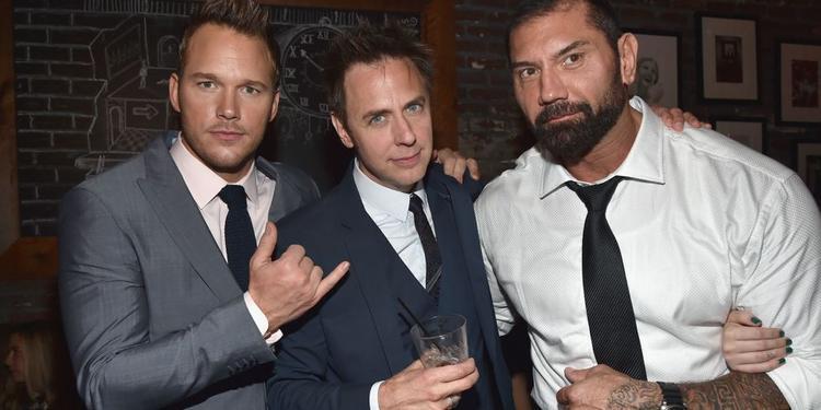 Chris Pratt, đạo diễn James Gunn và Dave Bautista