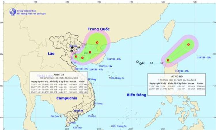 Đường đi và vị trí của tâm bão. ẢnhTrung tâm Dự báo khí tượng thủy văn Quốc gia.