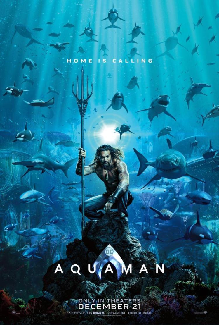 """Poster chính thức tràn ngập cá mập của """"Aquaman""""."""