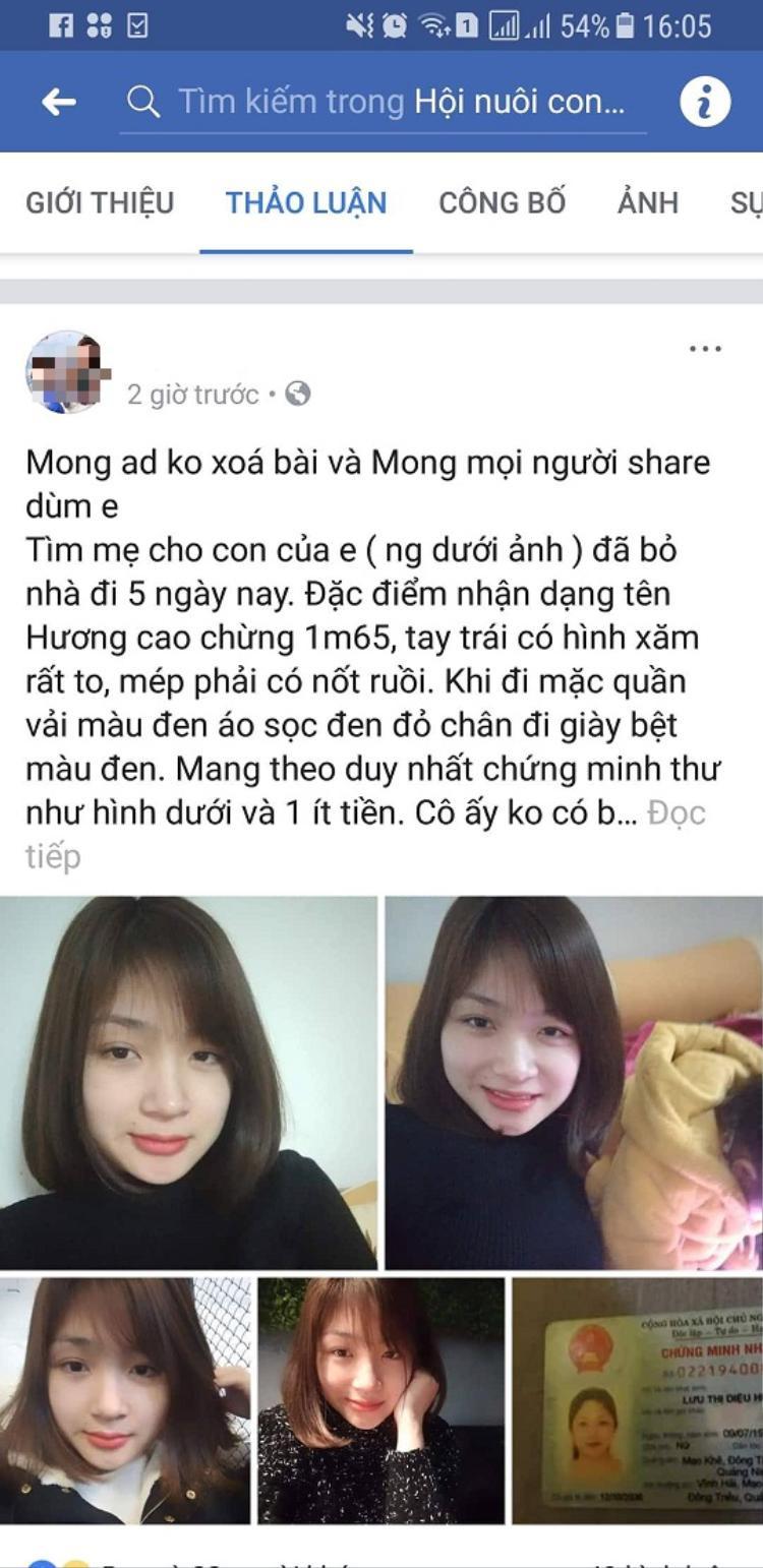 Người chồng đăng thông tin lên mạng xã hội tìm kiếm sự giúp đỡ.