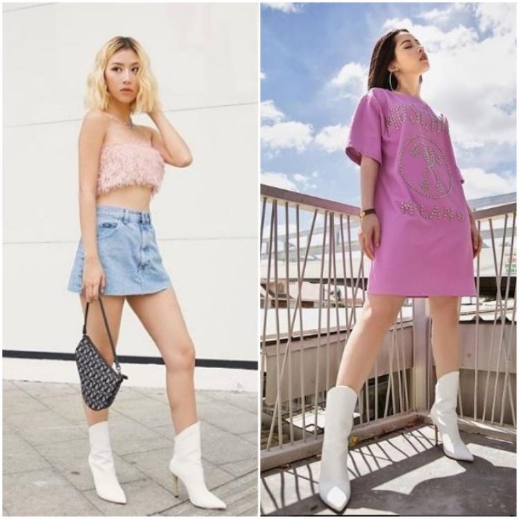 Không những cùng diện tông hồng tím, hai cô nàng còn mang cùng 1 đôi boot trắng giống hệt nhau.