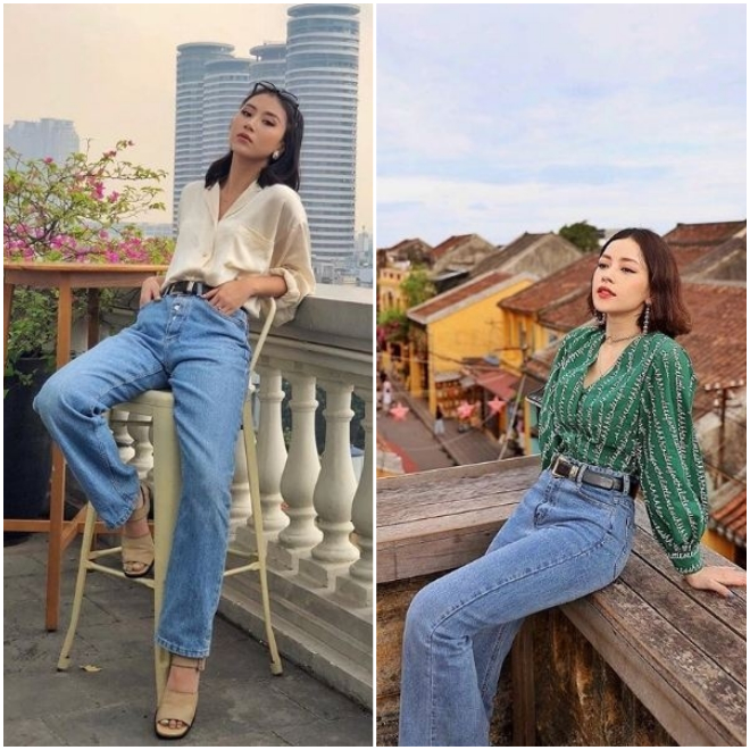 Cùng nhau diện style Retro với jean cạp cao sơ vin với áo sơ mi voan, ngay đến cả cách tạo dáng của Quỳnh Anh Shyn và Chipu cũng na ná nhau.