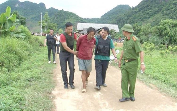 Đối tượng Lý Văn Dinh bị công an bắt giữ.