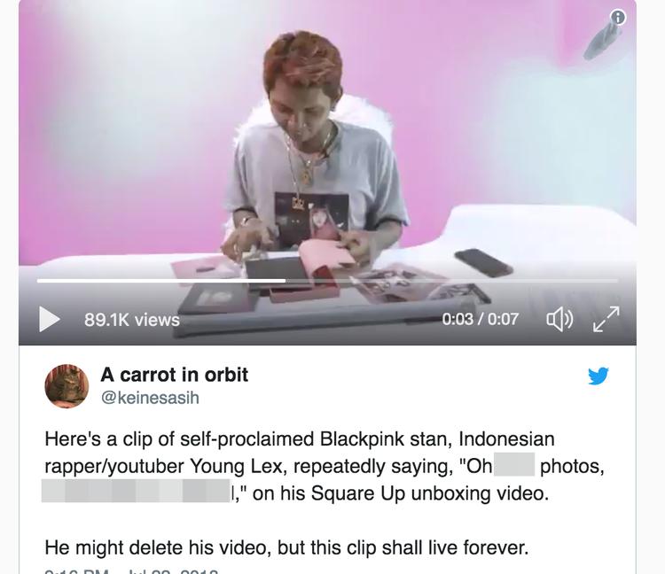 Đoạn clip được nam Rapper Young Alex chia sẻ trên trang cá nhân khiến người hâm mộ BlackPink phẫn nộ.