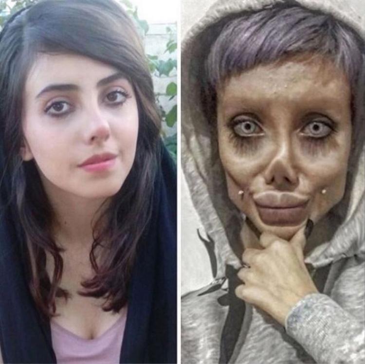 Sahar cũng thú nhận đã trang điểm và photoshop để biến gương mặt mình giống diễn viênAngelina Jolie.
