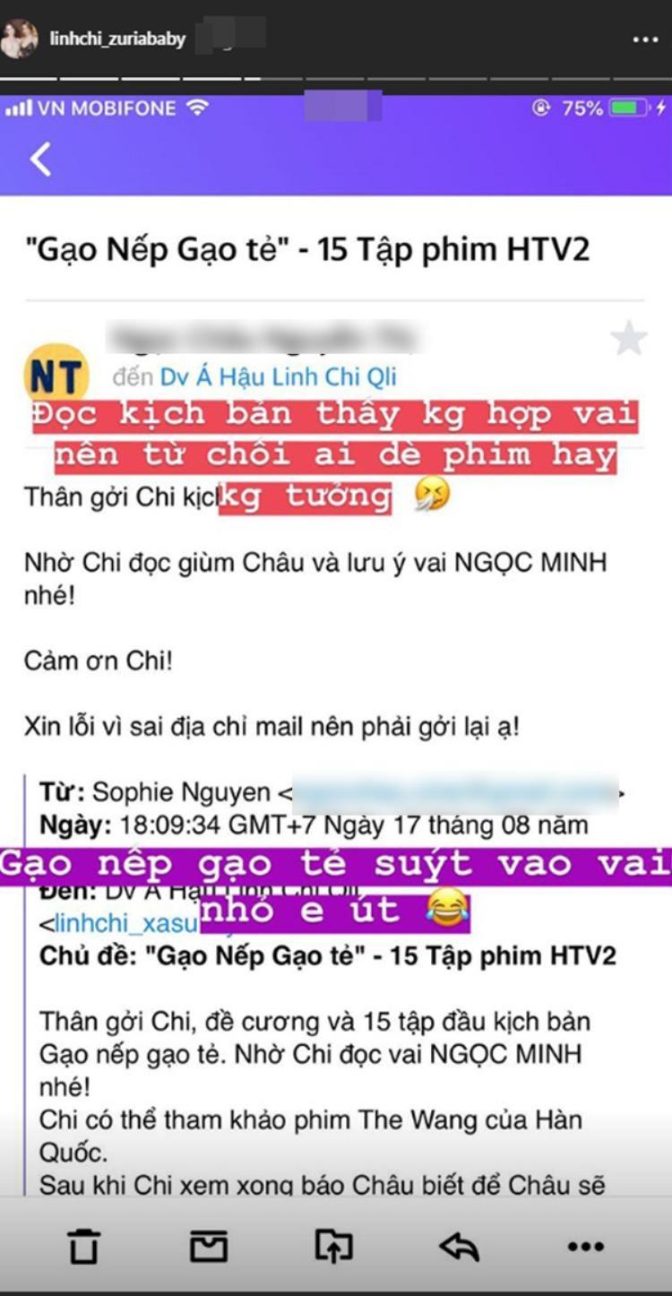 Linh Chi từ chối vì nghĩ vai diễn này không phù hợp với bản thân.