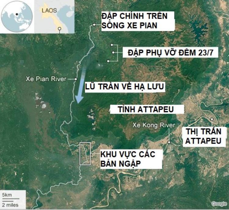 Vị trí đập phụ (số 1) bị vỡ vào đêm 23/7, thuộc dự án thủy điện Xe Pien-Xe Namnoy. Đồ họa: BBC